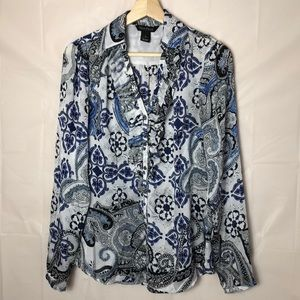 WHBM Button Up Ruffled Front Blouse Sz:4